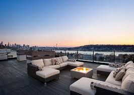 Real Flame Fire Pit - contemporary deck with fire pit u0026 rooftop deck in seattle wa