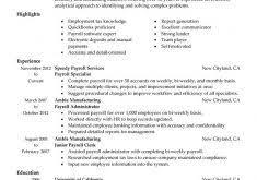 payroll specialist resume resume ideas