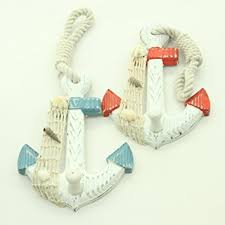 nautical and decor set of 2 wood anchor wall hooks nautical decor new