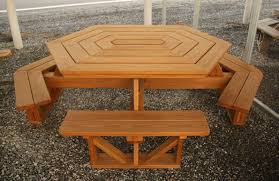 hexagon patio table and chairs wood picnic tables air hill lawn furniture with regard to wood patio