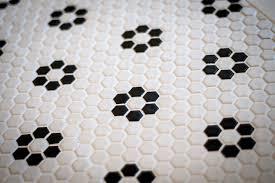 black and white hexagon tile floor and glazed ceramic hexagon tile