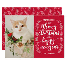 christmas cards photo meow cards invitations greeting photo cards zazzle