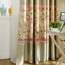 country style sage green polyester decorative pink floral curtains