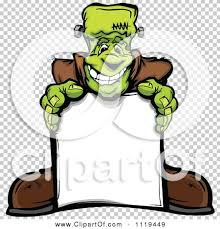 cartoon of a halloween happy frankenstein standing behind a sign
