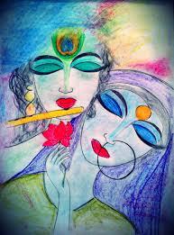 colourful sketch of radha krishna color sketch of radha krishna