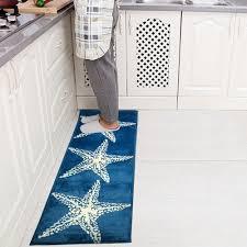 1pc flannel blue starfish plush soft rug anti slip doormat mat
