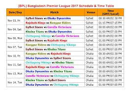 bpl 2017 schedule time table learn new things bpl bangladesh premier league 2017 schedule