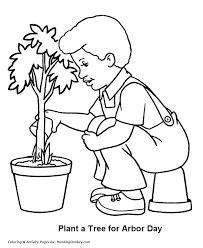 arbor coloring pages boy watering tree seedling coloring