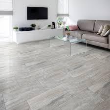 Diy Floor L Nordico Grey Vintage Porcelain Floor Tile Pack Of 8 L 618mm W