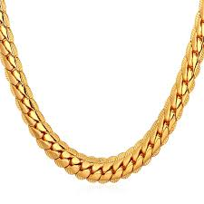 necklace gold men images U7 18k gold plated chain men summer jewelry 6mm unique snake chain jpg