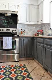 Low Kitchen Cabinets by Remodelaholic Grey And White Kitchen Makeover
