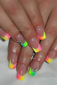 nail art multi spring color french tip nails pinterest