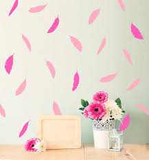 gold pink feather removable wall sticker kids room wall decals
