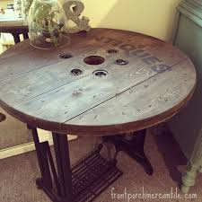 upcycled spool table front porch mercantile