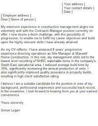 construction manager cover letter sample