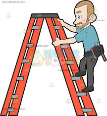 a construction worker climbing up the ladder cartoon clipart