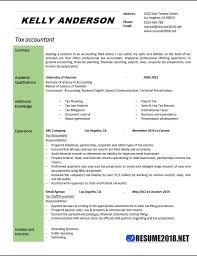 Sample Resume For Tax Accountant by Tax Accountant Resume Example 2018 Resume 2018