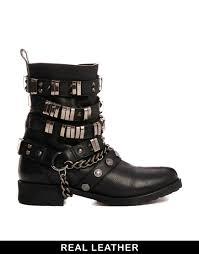 wide biker boots asos aruba leather biker boots in black lyst