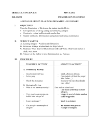 a detailed lesson plan in mathematics subtraction integer