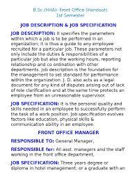 Front Desk Hotel Responsibilities Front Office 1st Sem Notes Resort Hotel