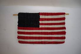 Blue White Red White Blue Flag Hand Made Country Folk Art Flag Red White And Blue Woven Wool 10 X