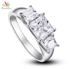 Sterling Silver Wedding Rings by Aliexpress Com Buy Peacock Star Three Stones Solid 925 Sterling