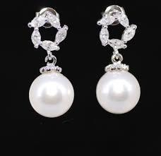 bridesmaid pearl earrings pearl earrings cubic zirconia earrings wedding earrings