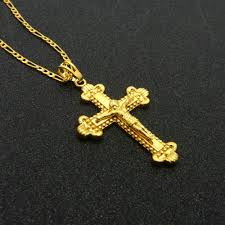 man gold cross necklace images Classic jesus cross pendant necklace men women yellow gold filled jpg