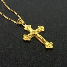 man gold cross necklace images Classic jesus cross pendant necklace men women yellow gold filled jpg