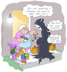 Halloween Meme Death Is Even In The Holiday Spirit Drawing By Jim Benton