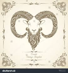 vintage template ornament decorative sheep symbol stock vector