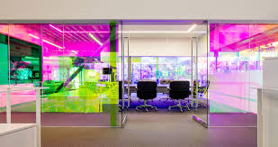 color changing glass bathes the interior of the new canvas