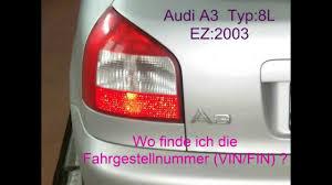 fahrgestellnummer fin audi a3 typ 8l von 2003 vehicle