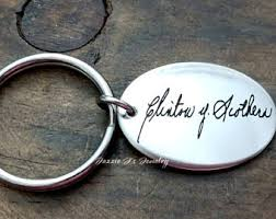 in memory of keychains actual handwriting etsy