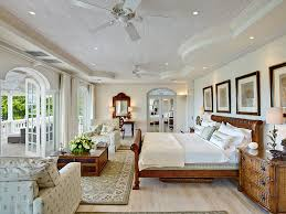 Plantation House Bedroom Wood Beige White And Blue Large Room - Plantation style interior design