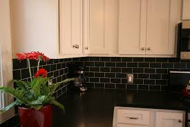White Kitchen Tile Backsplash White Cabinets Black Subway Tile U0026 Black Granite Countertops