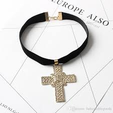 cross choker necklace images Hot fashion girls women cross choker necklace collar gothic style jpg
