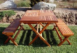 Foldable Picnic Table Bench Plans by Redwood Rectangular Folding Picnic Table With Fold Up Legs