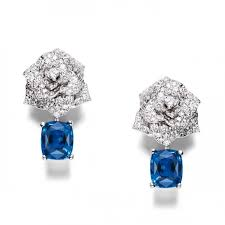 piaget earrings earrings by piaget with diamonds and sapphires set in 18k white