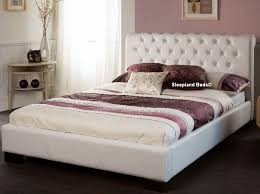 White Leather Sleigh Bed Aries White Faux Leather Bed Frame 6ft Super Kingsize