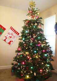 small christmas tree with decorations christmas lights decoration