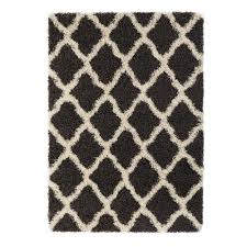 Moroccan Trellis Area Rug by Sweet Home Stores Cozy Shag Collection Charcoal Gray And Cream
