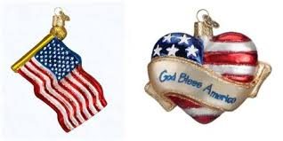 american flag and god bless american glass blown ornaments