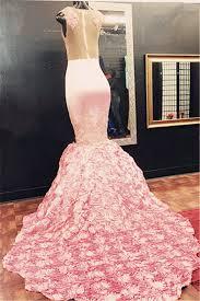 gorgeous pink lace flowers bottom illusion mermaid sleeveless