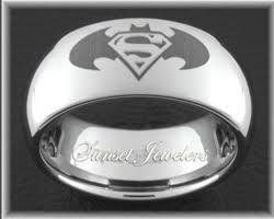 Batman Wedding Rings by Superman U0026 Batman Symbol On A Tungsten Wedding Ring Free Inside