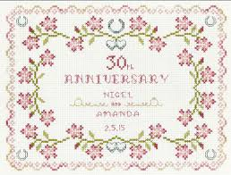 30 wedding anniversary 30th wedding anniversary cross stitch kit with delicate pearly