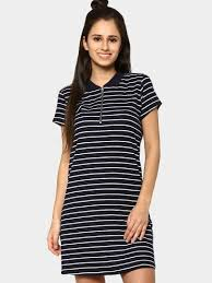 buy candie u0027s by pantaloons women navy striped t shirt dress online