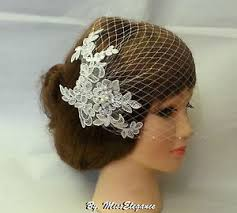 lace fascinator birdcage veil w lace fascinator ivory white diamonte pearls bridal