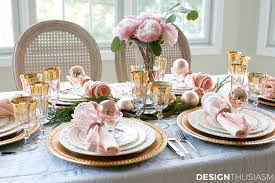 Table Setting Images by Elegant Christmas Table Setting With Pink And Gold