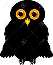 Halloween Owl Pictures Black Halloween Owl With Orange Shining Eyes Vector Illustration